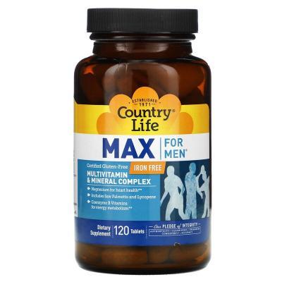Мультивитамины и минералы для мужчин, Max for Men, Country Life, 120 таблеток