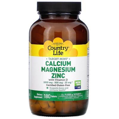 Target-Mins, Кальций, магний и цинк + витамин D3, Country Life, 180 таблеток