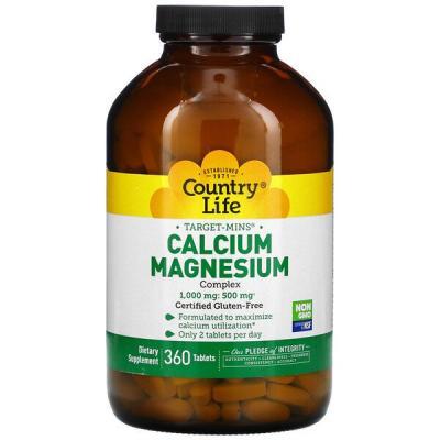 Кальций Магний, Calcium-Magnesium, Country Life, 1000-500 мг, 360 таблеток