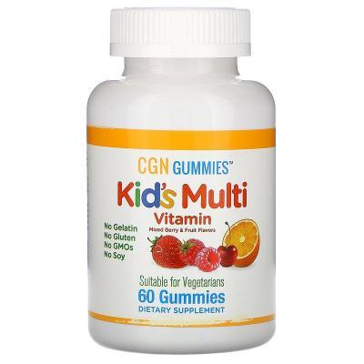 Детские мультивитамины, Kid's Multi Vitamin, Mixed Berry & Fruit Flavors, California Gold Nutrition, 60 жевательных конфет