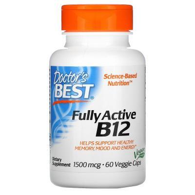 Активный витамин B12, Fully Active B12, Doctor's Best, 1500 мкг, 60 растительных капсул
