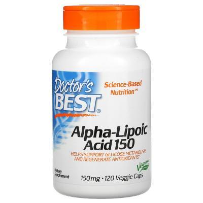 Альфа-липоевая кислота, Alpha Lipoic Acid, Doctor's Best, 150 мг, 120 капсул