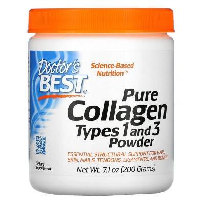 Коллаген тип 1 и 3, Collagen, Doctors Best, порошок, 200 г