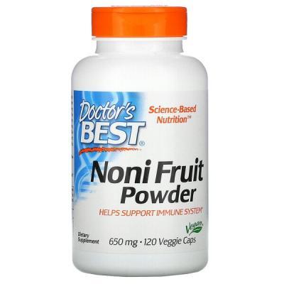 Нони, Noni Fruit Powder, Doctor's Best, 650 мг, 120 капсул