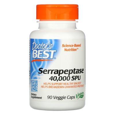 Серрапептаза, Serrapeptase, Doctor's Best, 40,000 SPU, 90 капсул
