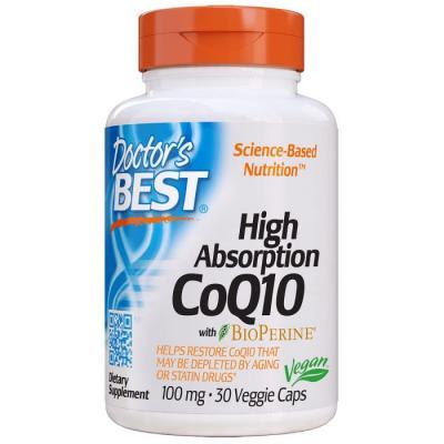 Коэнзим Q10 высокой абсорбции 100 мг, BioPerine, Doctor's Best, 30 гелевых капсул