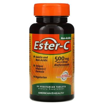 Эстер-С с цитрусовыми биофлавоноидами, Ester-C, American Health, 500 мг, 90 таблеток