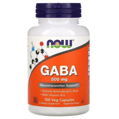 GABA (Гамма-Аминомасляная Кислота) 500 мг, Now Foods, 100 гелевых капсул