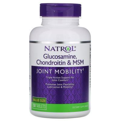 Глюкозамин хондроитин МСМ, Glucosamine Chondroitin MSM, Natrol, 150 таблеток