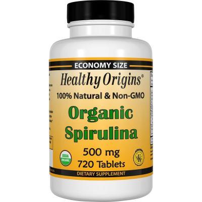 Органическая спирулина, Organic Spirulina, Healthy Origins, 500 мг, 720 таблеток