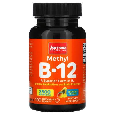 Витамин В-12 тропический вкус, Methyl B-12, Jarrow Formulas, 2500 мкг, 100 леденцов