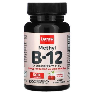 Витамин В12 со вкусом вишни, Methyl B-12, Jarrow Formulas, 500 мкг, 100 леденцов