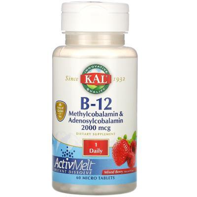Витамин B-12  (в виде метилкобаламина и аденосилкобаламина), B-12, KAL, вкус ягод, 2000 мкг, 60 микротаблеток