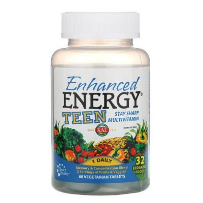Усиленная энергия, для подростков, смесь для памяти и концентрации, KAL, 60 вегетарианских таблеток