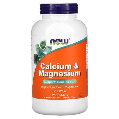 Кальций и магний, Calcium & Magnesium, Now Foods, 2:1, 250 таблеток