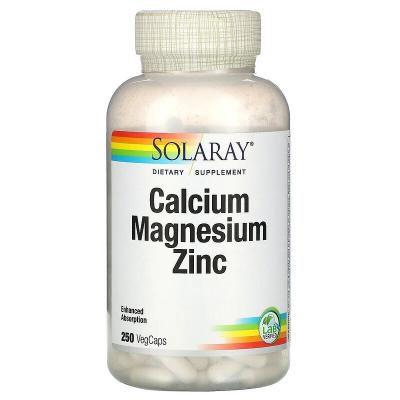 Кальций, магний и цинк, Calcium, Magnesium, Zinc, Solaray, 250 капсул