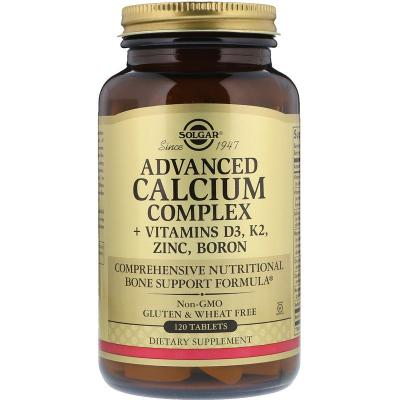 Кальций с витаминами, Calcium Complex + Vitamins D3, K2, Solgar, 120 таблеток