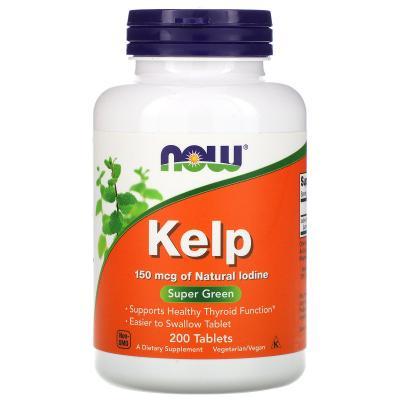 Ламинария, Kelp, Now Foods, 150 мкг, 200 таблеток