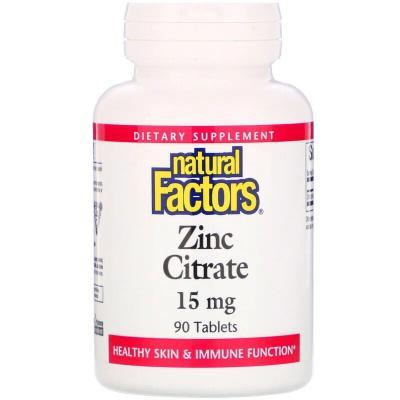 Цитрат цинка, 15 мг, Natural Factors, 90 таблеток