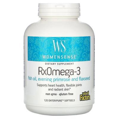 Рыбий жир Омега-3 Natural Factors, WomenSense, RxOmega-3, 120 мягких таблеток Enteripure