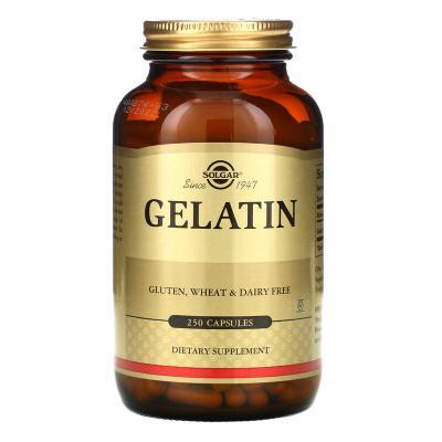 Натуральный желатин с карбонатом кальция, Gelatin, Solgar, 250 капсул