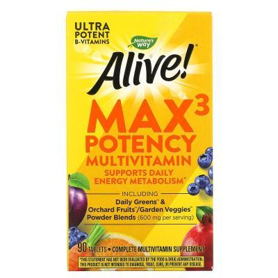 Nature's Way, Alive! Max3 Daily, мультивитамины, 90 таблеток