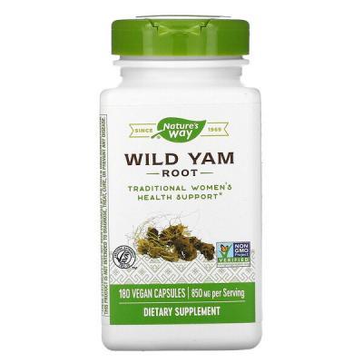 Корень Дикого Ямса, Wild Yam Root, 850 мг, Nature's Way, 180 веганских капсул