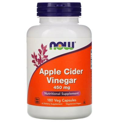 Яблочный уксус сидровый, Apple Cider Vinegar, Now Foods, 450 мг, 180 капсул