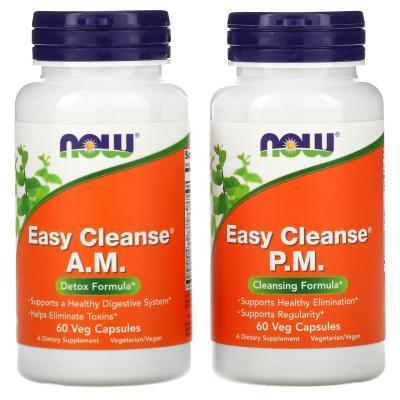 Препарат для детоксикации, Easy Cleanse, Now Foods, 2 флакона, по 60 растительных капсул