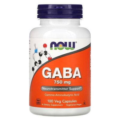 Гамма-аминомасляная кислота, GABA, Now Foods, 750 мг, 100 капсул