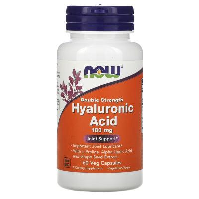 Гиалуроновая кислота, Hyaluronic Acid, Now Foods, 100 мг, 60 капсул