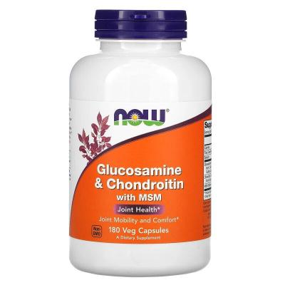 Глюкозамин и хондроитин с MСM, Glucosamine & Chondroitin with MSM, Now Foods, 180 капсул