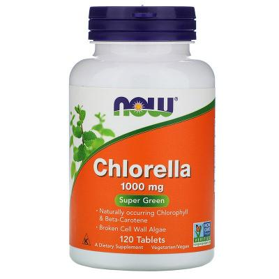 Хлорелла, Chlorella, Now Foods, 1000 мг, 120 таблеток
