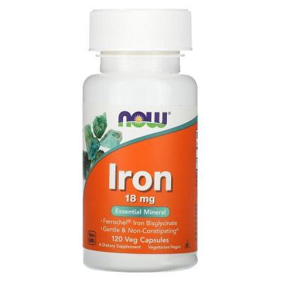 Железо 18 мг, Now Foods, 120 гелевых капсул