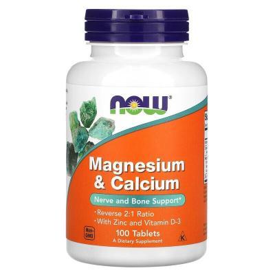 Кальций и магний, Calcium & Magnesium, Now Foods, 100 таблеток