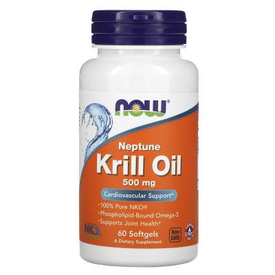 Масло морского криля Нептун, Neptune Krill Oil, Now Foods, 500 мг, 60 гелевых капсул