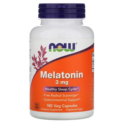 Мелатонин, Melatonin, Now Foods, 3 мг, 180 капсул