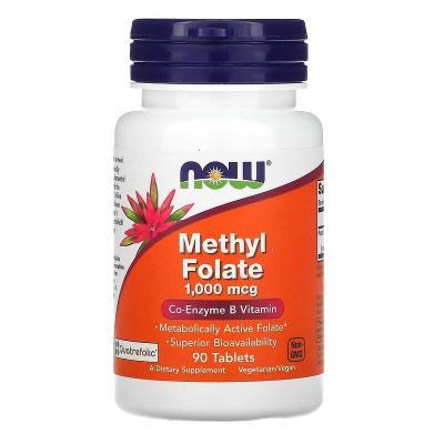 Метилфолат, Methyl Folate, Now Foods, 1000 мкг, 90 таблеток