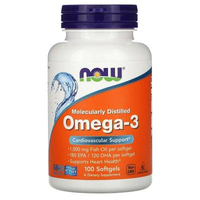 Омега-3, Omega-3, Now Foods, 100 гелевых капсул