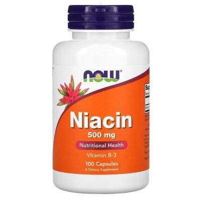 Витамин В3, Ниацин, Niacin, Now Foods, 500 мг, 100 капсул