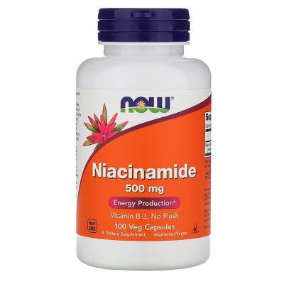 Ниацинамид (В3) 500мг, Now Foods, 100 Капсул