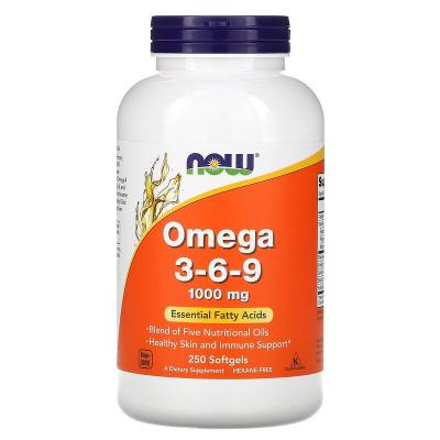 Омега 3 6 9, Omega 3-6-9, Now Foods, 1000 мг, 250 гелевых капсул