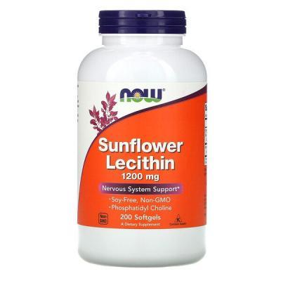 Подсолнечный лецитин, Sunflower Lecithin, Now Foods, 1200 мг, 200 капсул