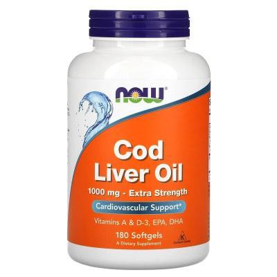 Рыбий жир из печени трески, Cod Liver Oil, Now Foods, 1000 мг, 180 капсул