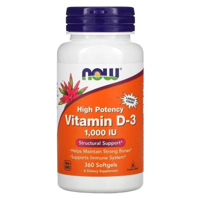 Витамин Д3, Vitamin D-3, Now Foods, 1000 МЕ, 360 капсул