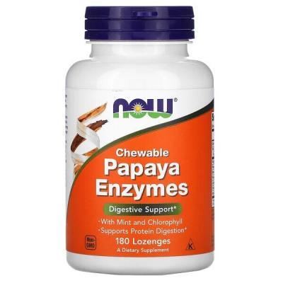 Пищеварительные ферменты папайи, Papaya Enzymes, Now Foods, 180 леденцов