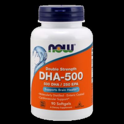 Рыбий жир, двойная сила, DHA-500, Now Foods, 90 капсул