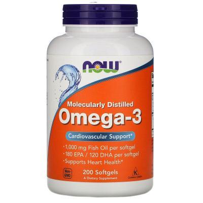 Омега 3, поддержка сердца, Omega-3, Now Foods, 180 EPA/120 DHA, 200 капсул