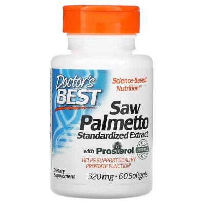 Пальма сереноа, Saw Palmetto, Standardized Extract with Euromed, Doctor's Best, 320 мг, 60 мягких таблеток