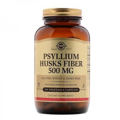 Подорожник, Psyllium Husks Fiber, Solgar, 500 мг, 200 капсул